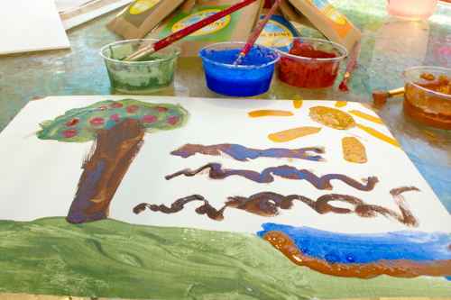 painting with Earth Paint for Children