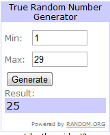 random number winner or Earth Paints giveaway