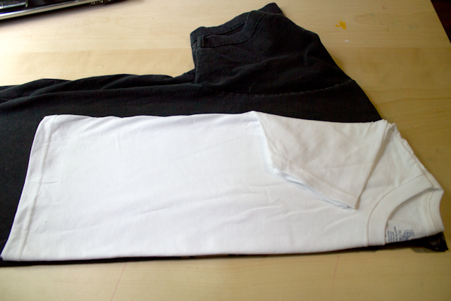 lay out a well-fitting shirt as a pattern for the tank top