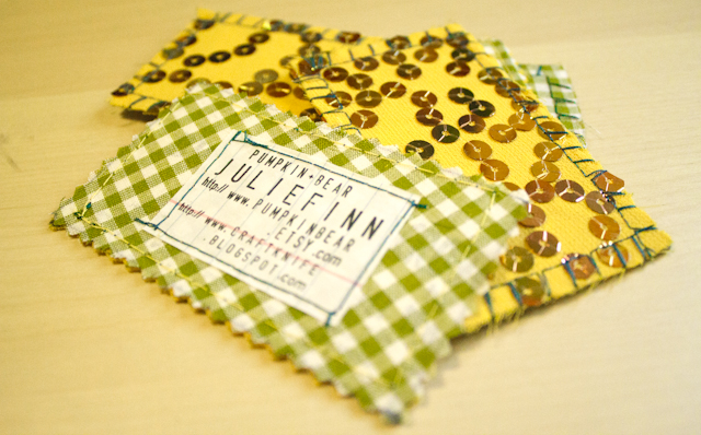 business cards made from fabric scraps and recycled paper