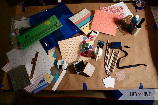 messy craft table - upcycled craft organizers to the rescue!