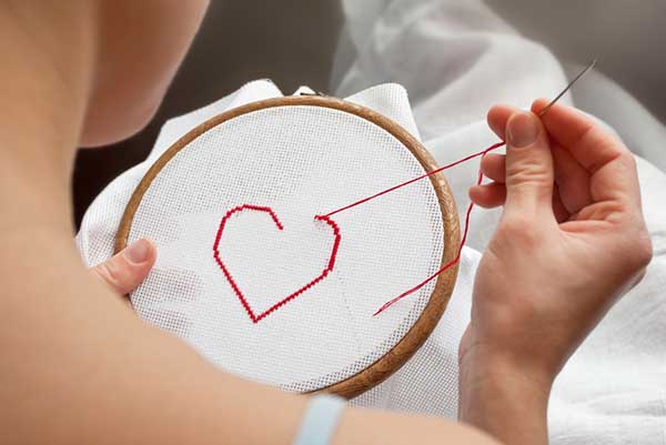 heart embroidery for women's rights week