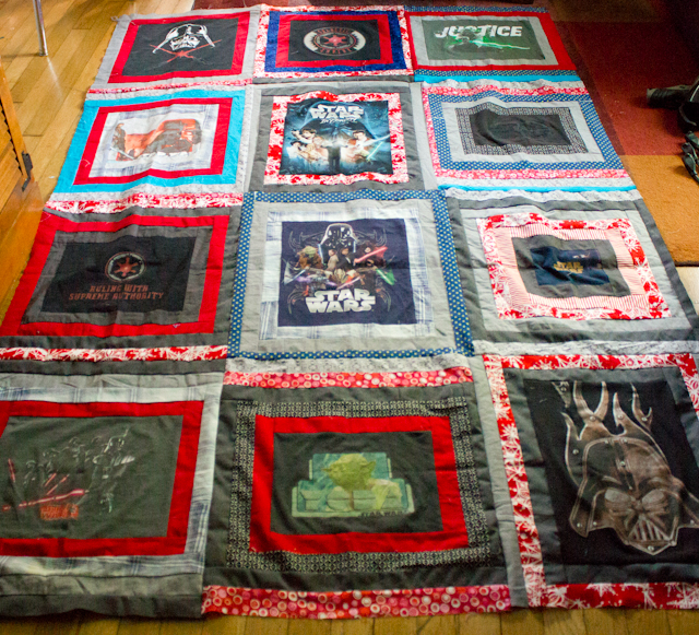 Star Wars log cabin T-shirt quilt top