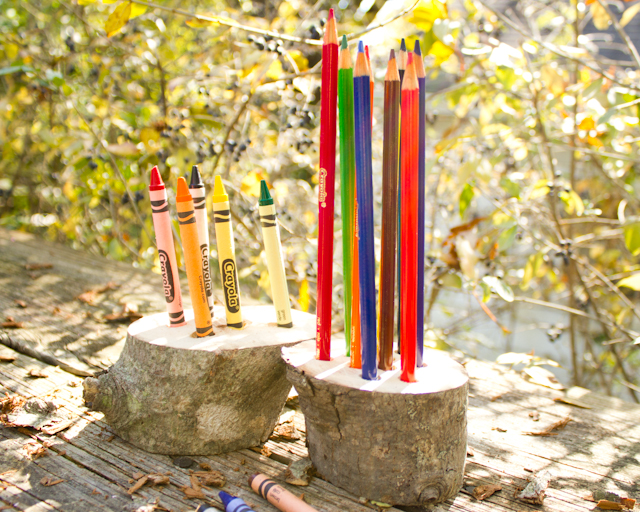crayon holder and colored pencil holder from a fallen tree branch
