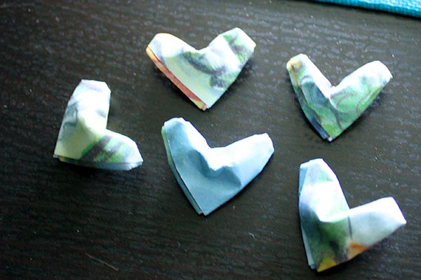 origami puffy hearts