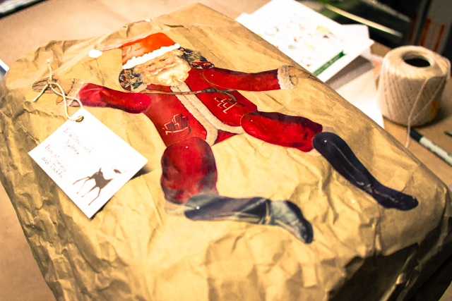 Santa printable on a brown paper package
