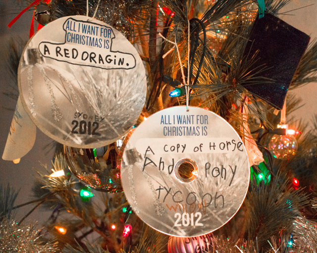 Recycled CD Wish List Ornaments