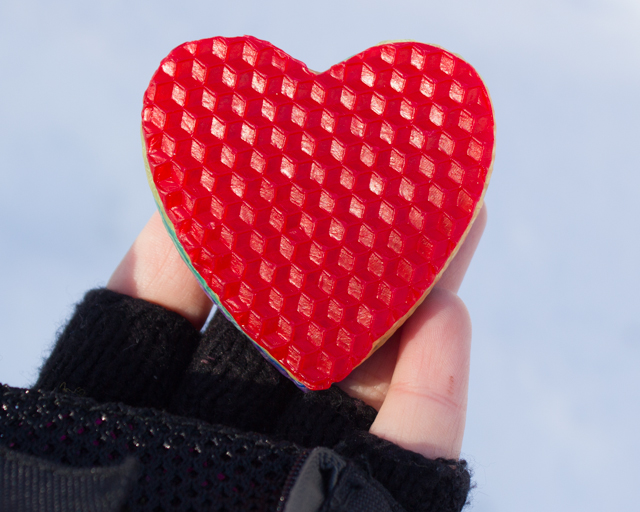 beeswax heart cut-out