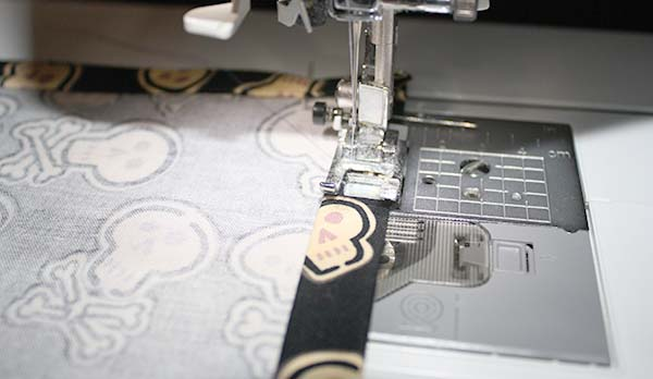 sewing a handkerchief