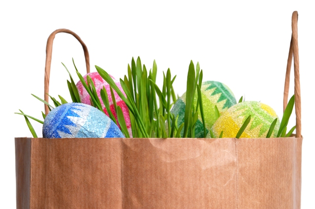 brown paper Easter basket image via Shutterstock