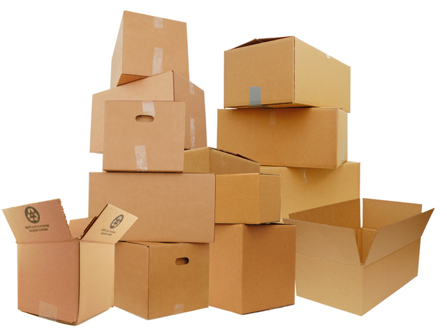 cardboard boxes image via Shutterstock