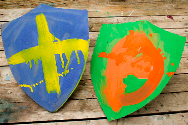 a couple of completed cardboard shields