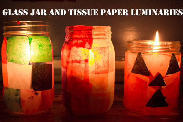 Upcycled Glass and Tissue Paper Luminaries (1 of 1)