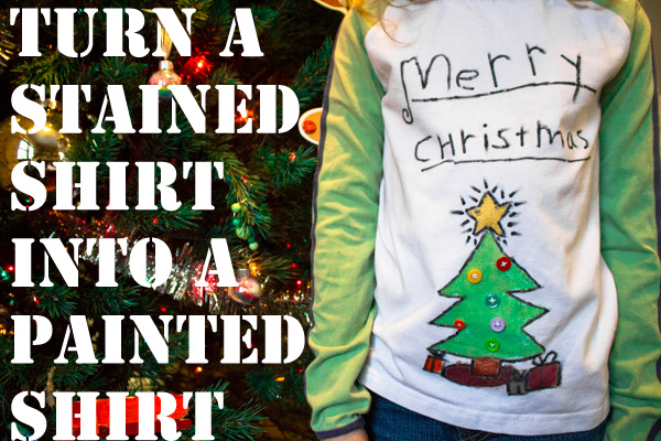 painted christmas tree t shirt