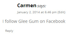 Glee Gum Giveaway winner