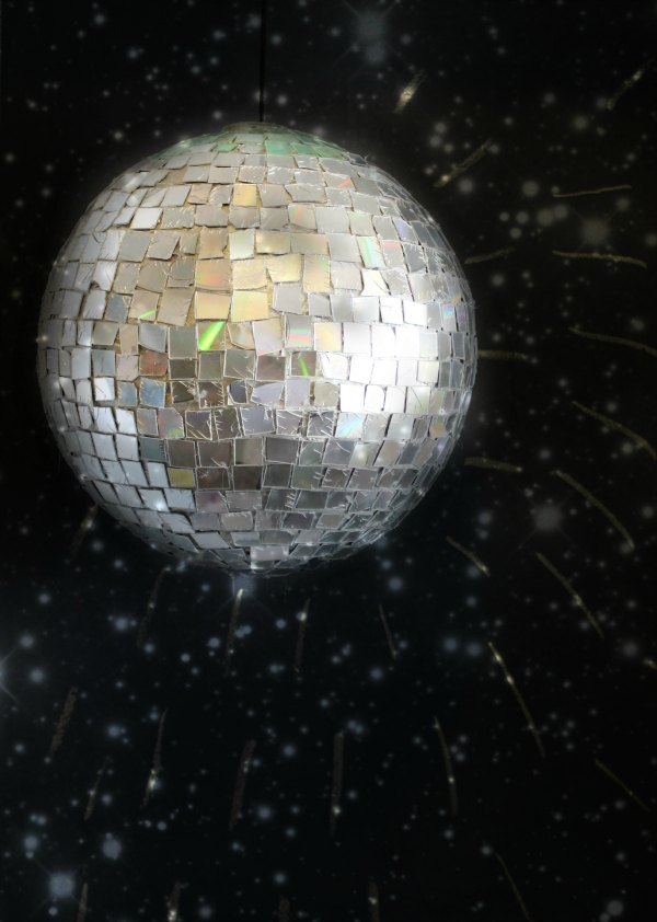 A DIY Disco Ball Made from Old CDs