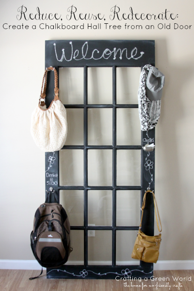 Reduce, Reuse, Redecorate: Create A Chalkboard Hall Tree From An Old Door