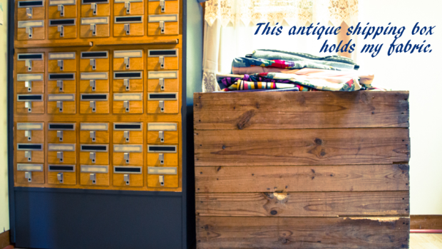 Antique Shipping Box Fabric Storage