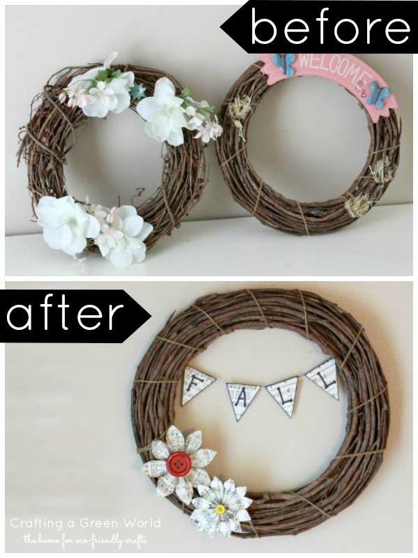 Make a Fall Wreath from an Old Wreath