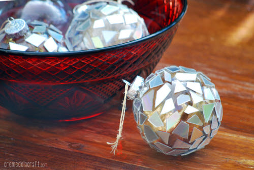 DIY Christmas Ornaments: CD Mosaic