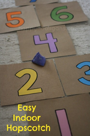 Rainy Day Toddler Activities: Indoor Hopscotch