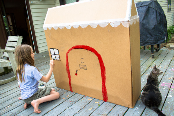 Kid-Sized Cardboard Gingerbread House