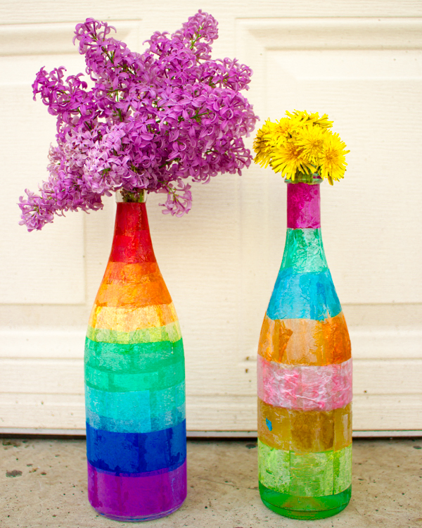 Tissue Paper Decoupaged Glass Bottles