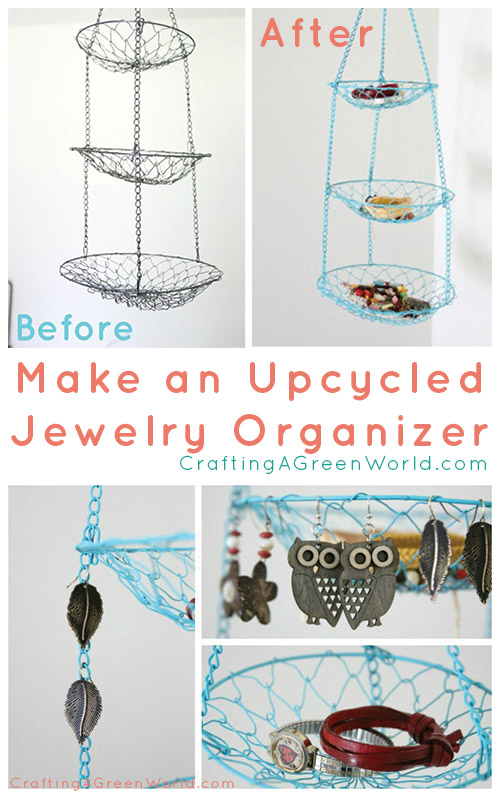 Turn a salvaged hanging fruit basket into bright, cheerful DIY jewelry storage with just a few basic tools and supplies.