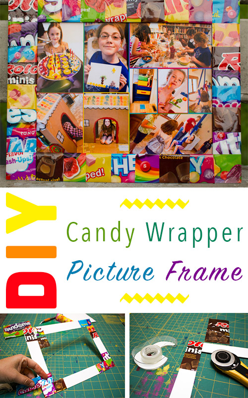 Candy wrappers do have one redeeming quality: they're so cute! Here's how to make a candy wrapper picture frame to show off your favorite photo.