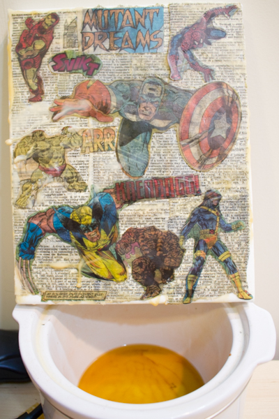 Mixed-Media Beeswax Collage - Grab some beeswax. Today, I'm going to show you how to make a mixed-media collage from beeswax and almost any paper that you want.