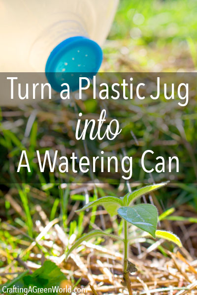 A watering can made from a plastic jug takes about one minute to complete, AND this DIY plastic jug watering can works better and holds more water than a lot of those cheap-o watering cans that look cute but cost real money.
