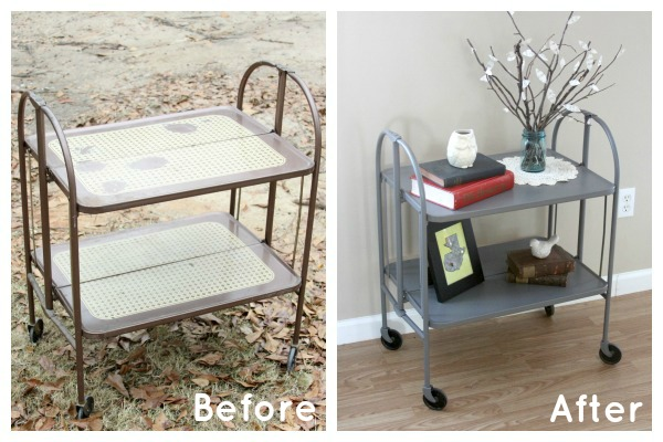 Turn a dated metal serving cart into a DIY accent table with a fresh, modern vibe.