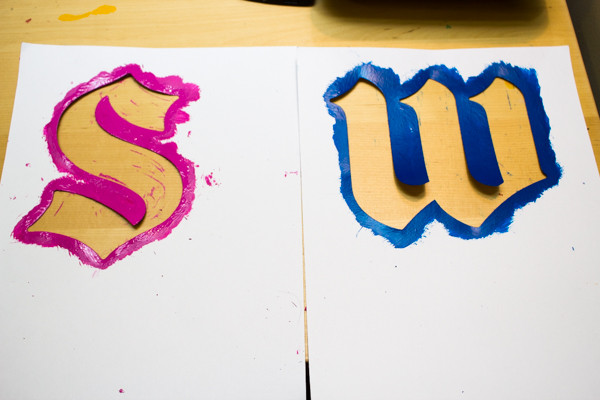 Stenciled Monograms using Stencil Craft