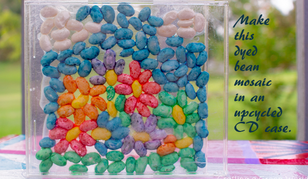 If you've got a kid who loves art projects, then this dyed bean kid mosaic is going to be a rainy day hit!