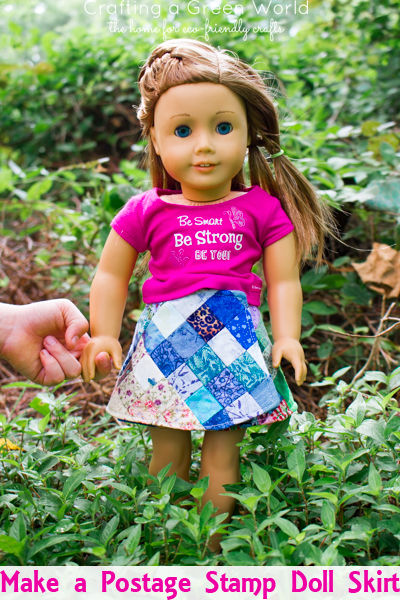 Doll clothes are great for busting those teeny-tiny fabric pieces in your stash, and this postage stamp doll skirt is an especially good stash-buster.
