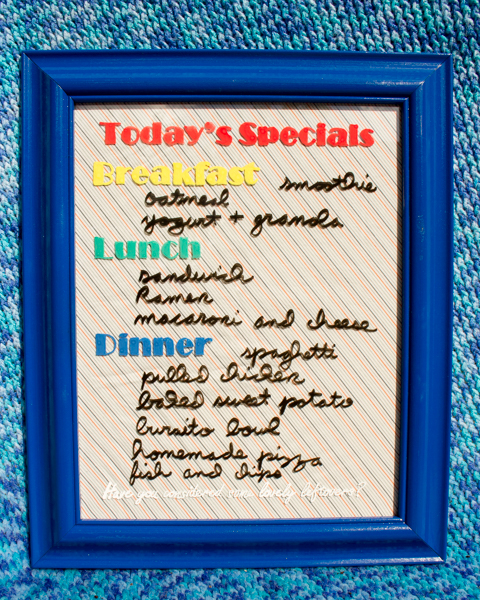 A DIY dry erase menu board is super helpful, no matter what kind of mealtimes your family enjoys.