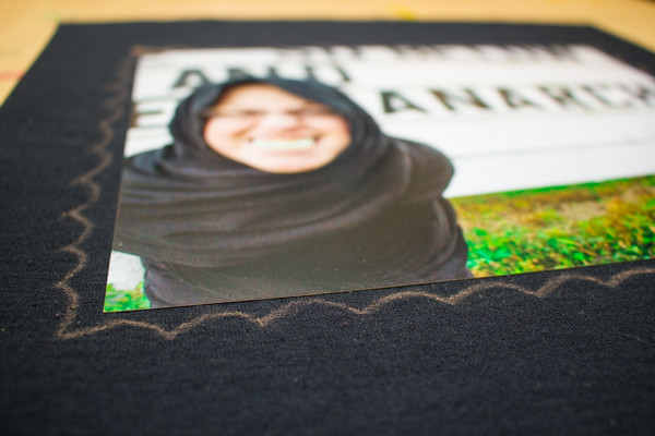 DIY Embellished Fabric Photo Mat