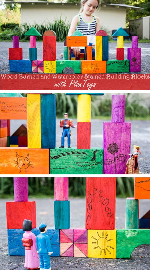These wood burned building blocks featuring my kids' own drawings are super special to us. Here's how to make your own set with your child's art on it!