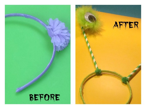 Turn an old headband into a quick and easy DIY Halloween costume using items you already have in your crafts stash.