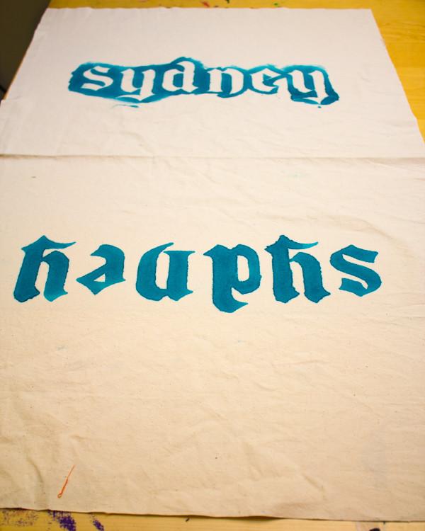 Freezer Paper-Stenciled Drawstring Bag Tutorial
