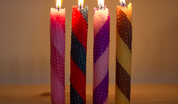 Hanukkah Crafts: striped rolled beeswax candles