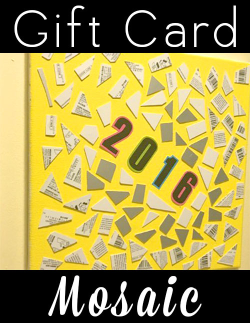 Do you have a stack of empty gift cards from holiday gift-giving? Don't toss them out! Cut them into tiny pieces and use them in a clever gift card mosaic.