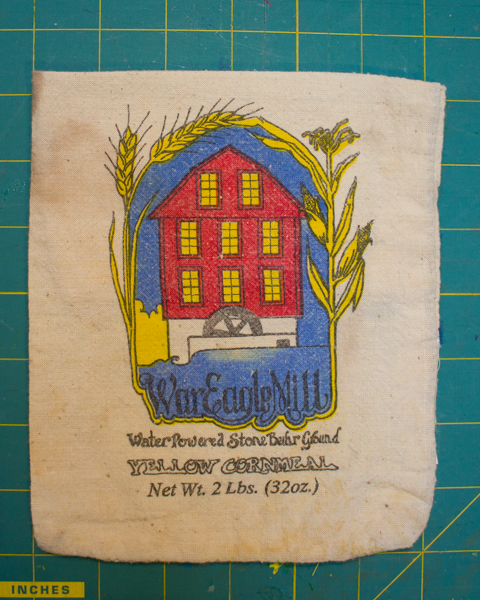 vintage cornmeal sack kitchen sachet