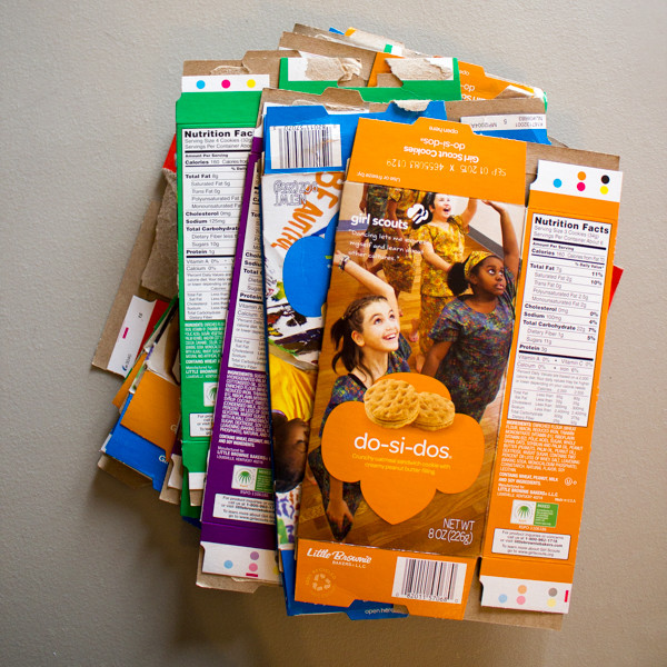 upcycled Girl Scout cookie box bunting