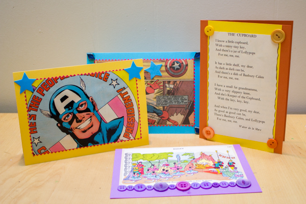 Crafts with Coloring Pages: upcycled collage greeting cards from The Complete Photo Guide to Cardmaking