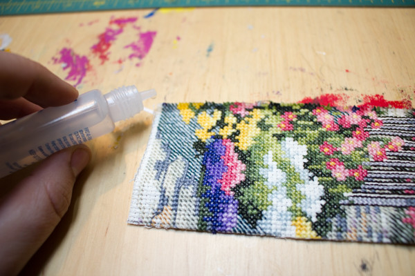 upcycled cross stitch bookmark