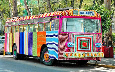 Magda Sayeg from the all female guerilla knitting group 'Knitta Please' has covered an entire bus in Mexico City