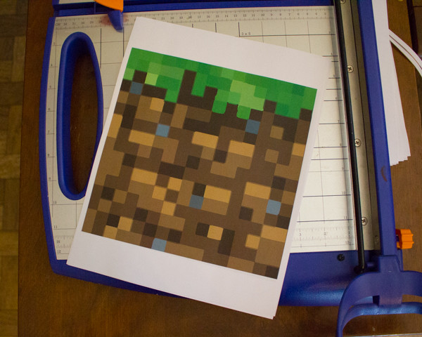 Upcycled Cardboard Minecraft Grass Block Party Invitation