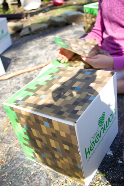 Upcycled Cardboard Minecraft Grass Block Party Invitations