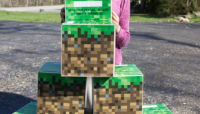 Giant Upcycled Cardboard Minecraft Grass Block